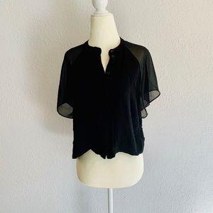Top Shop Black Crop Top w/ Sheer Sleeves